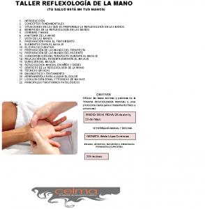 Nuestra academia ofrece un Taller de Reflexología de la mano los día 26 de abril y el 10 de mayo. Más información en el cartel informativo o llamar a nuesto centro